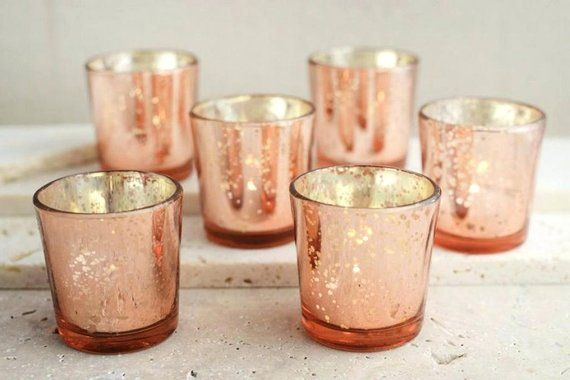 You Choose Color Set Of 24 Rose Gold Silver Gold This Painted Glass Votive Holde With Images Rose Gold Wedding Decor Gold Wedding Decorations Mercury Glass Candle Holders