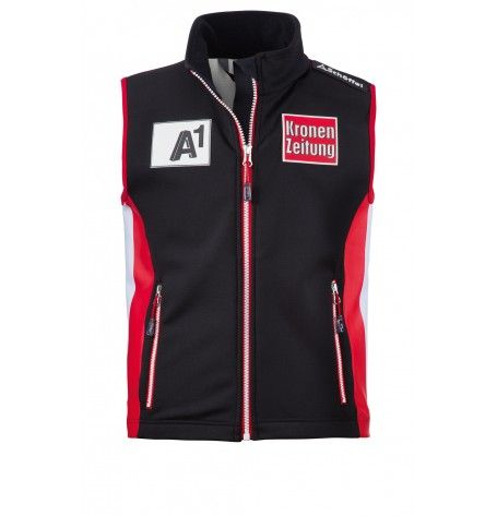 Pre-Order: Race Vest Austrians Junior - Perfect for training or for warming up in the competition. This Junior Race vest worn by the Austrian Ski Federation team in the World Cup. The Soft Shell Vest is windproof and waterproof, keeps you warm on cold days and wicks moisture away from the body. So you stay dry throughout the day. Pick new adventure, because with this vest you're ready for all challenges.