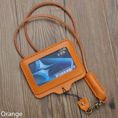 Handcrafted vegetable tanned leather ID badge wallet by Onequeen