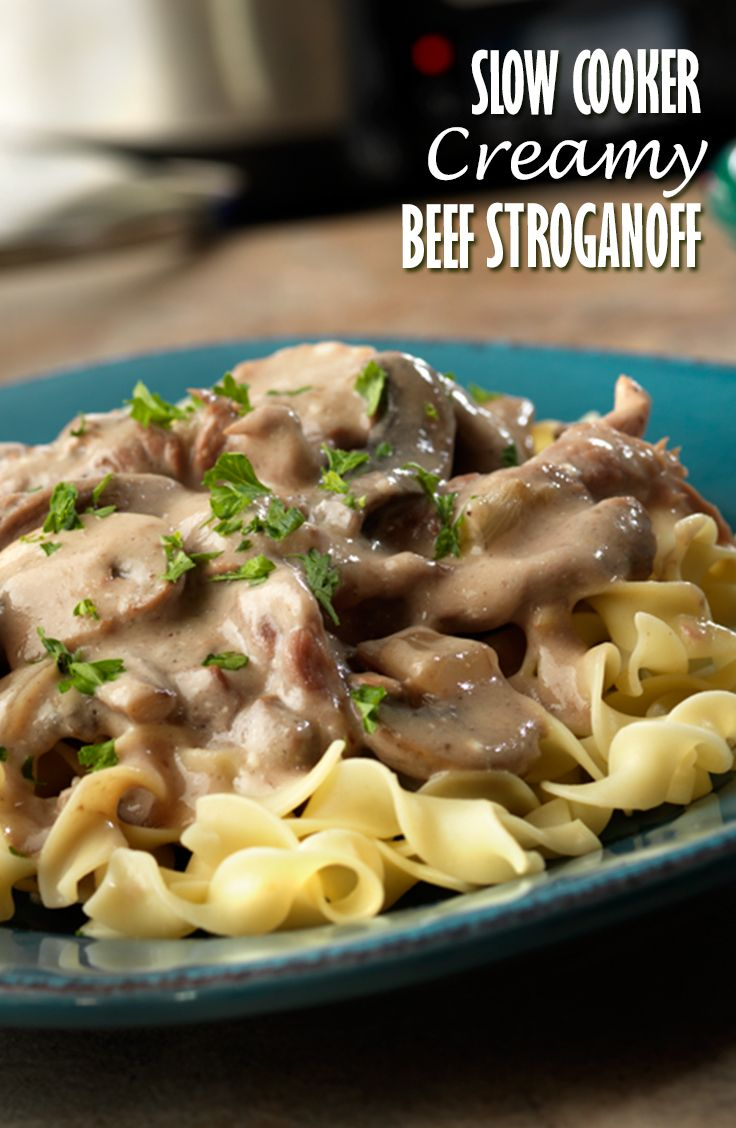Slow Cooker Creamy Beef Stroganoff Recipe - Beef bottom round steak slow cooks to tenderness in a creamy mushroom sauce that the whole family will love!