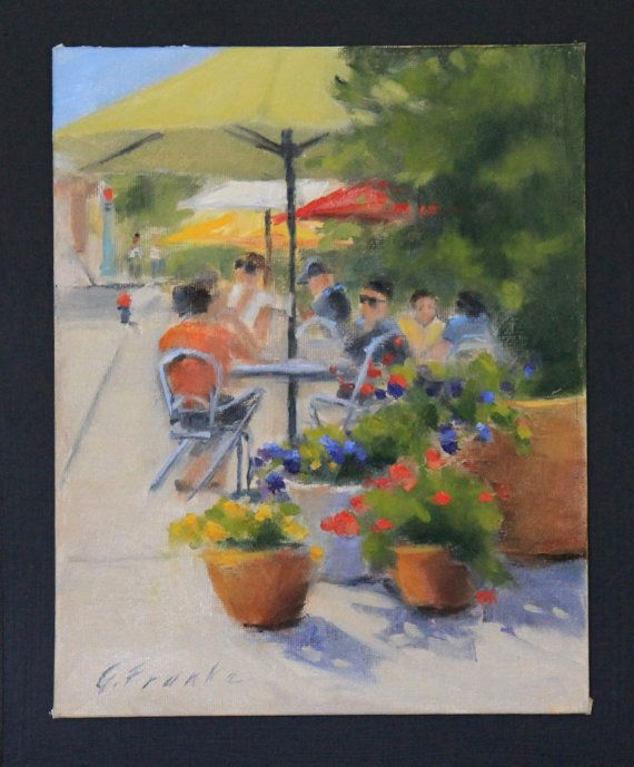 """Original oil painting, summer café with flowers and umbrellas, painted outside """"en plein air"""" by GailFrankeArt"""