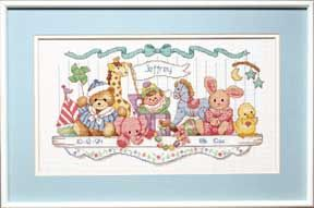 click here to view larger image of Toy Shelf Birth Record (counted cross stitch kit)