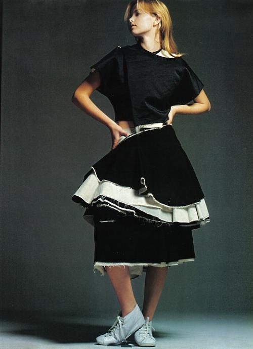 model wearing Comme des Garçons. By David Sims, 1998