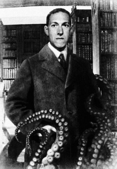 H.P. Lovecraft - American author (1890-1937). Lovecraft is best known for his Cthulhu Mythos story cycle and the Necronomicon, a fictional magical textbook of rites and forbidden lore.