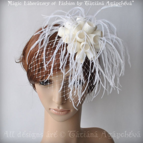 Bridal Comb Fascinator Fantasy Silk Cocoons Flower by TianaCHE, $170.00