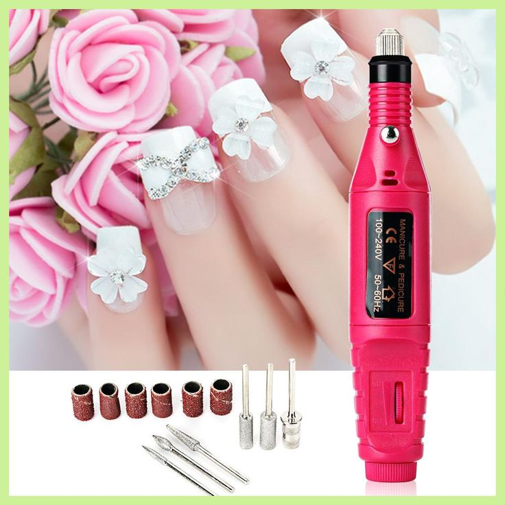 1Set 6bits Professional Gel Electric Manicure Machine Nail Drill Art Pen Nail Stamping Plates Pedicure File Shape Tool Feet Care