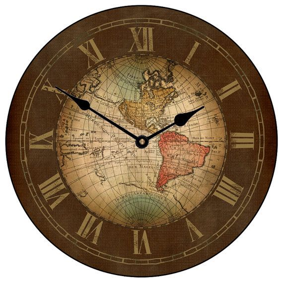 27 best world map clocks images on pinterest world maps wall the big clock store has an array of colorful map clocks from neutral shabby chic and more modern map wall clocks gumiabroncs Choice Image
