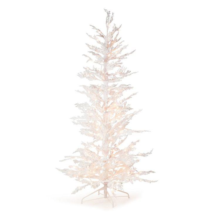 Flocked White Twig Tree Pre-Lit Full Christmas Tree - 5851-