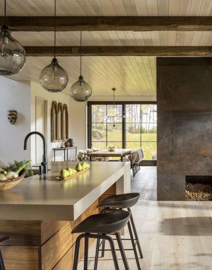 Fireplace Kitchen Island Interior Design Home Decor Kitchen
