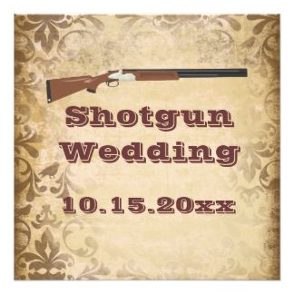 Shotgun Wedding Brown Damask Invitations 525 Square Invitation Card
