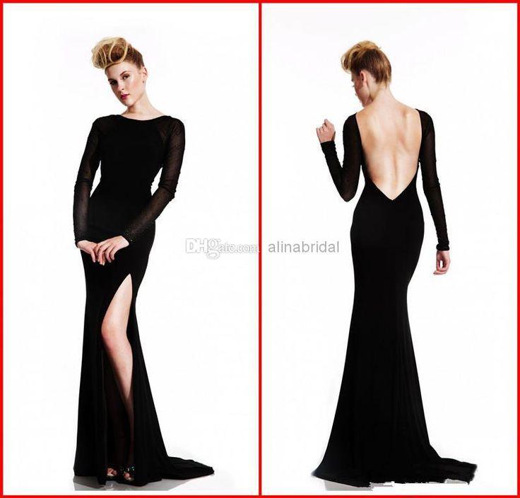 Long black silk backless dress