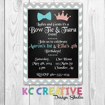 Bow Ties and Tiaras Combined Birthday Party Invitation From KC Creative Design Studio on Storenvy. Custom printable, digital, kids party, boy and girl party