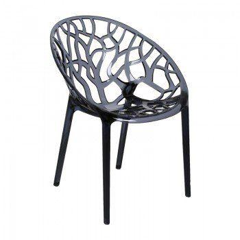 Design kunststof stoel Crystal | stoel voor binnen en buiten met patroon van een boom