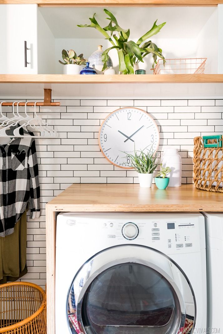 Laundry Room Makeover White Subway Tile Charcoal Grout Vintage Revivals