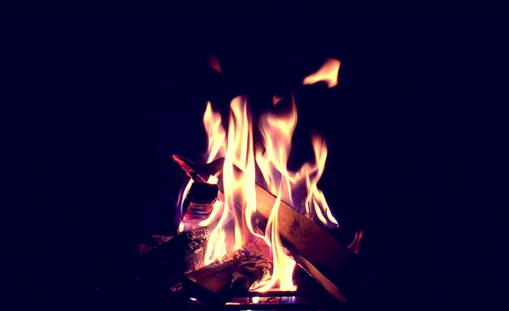 Beautiful Fire from a outdoor fireplace