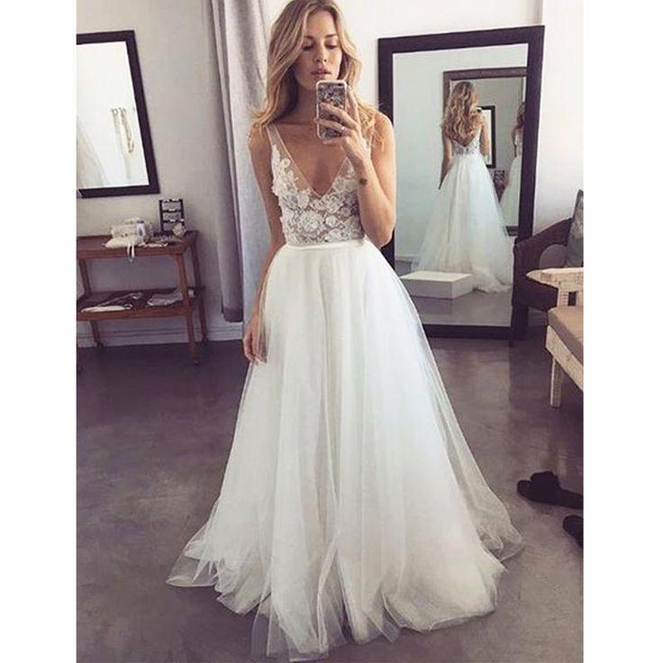Popular V Neck Formal A Line Tulle Bridal Long Beach Wedding Dresses, BGP270