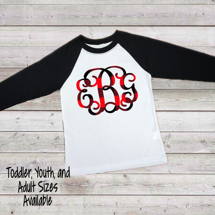 Excited to share the latest addition to my #etsy shop: Red Plaid Monogrammed Raglan Shirt - red christmas raglan - toddler raglan shirt - youth raglan shirts - womens raglan tee