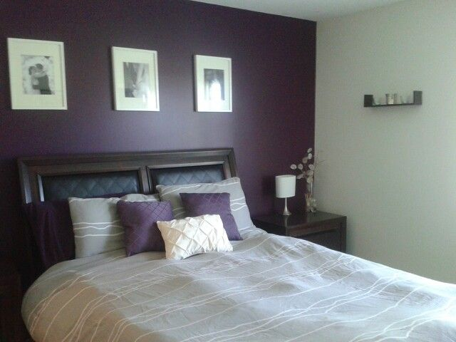 Purple Accent Wall In Grey Bedroom Hmmm  Bedroom Decor Pinterest