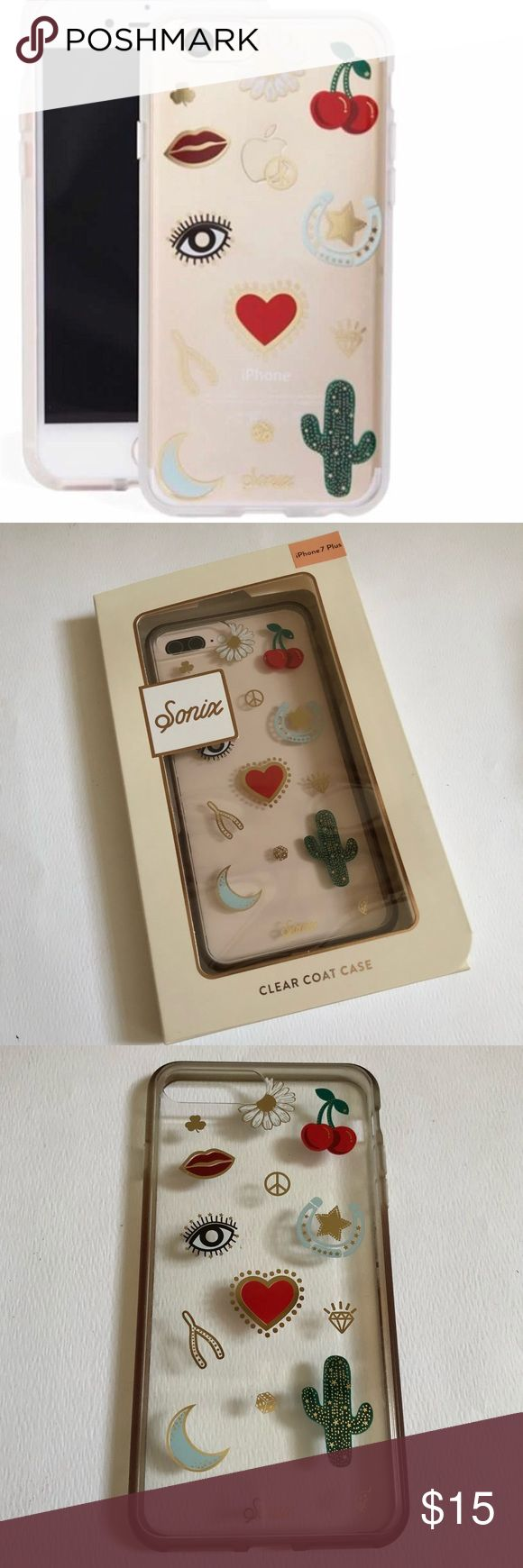 Sonix IPhone 7 Plus iPhone 8 Plus Phone Case Super cute clear graphic iPhone 7 Plus case that also fits iPhone 8Plus by Nordstrom brand Sonix. Gently used and has a slight rough edge all the way around the boarder or the graphics. Enlarge photo 7 to get a close up of part of the edge of the graphic overlay. Can feel it more than see it all the way around. Comes with original box. From Nordstrom. 🚫Trades🚫PP. Nordstrom Accessories Phone Cases