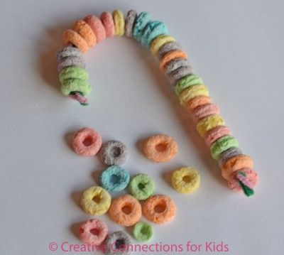 Candy Cane Craft Ideas | Christmas Fruit Loops Candy Cane Craft.