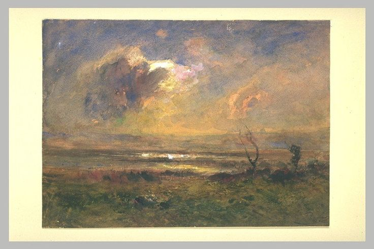 La Plaine, effet de Couchant, harmonie rousse, vers 1868, aquarelle et gouache, 26 x 35,9 cm, Musée du Louvre, Département des Arts Graphiques à Paris.
