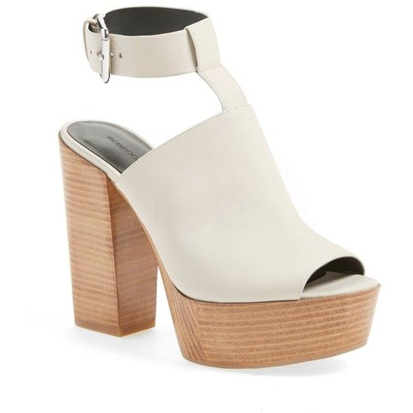 "Rebecca Minkoff 'Cece' Platform Sandal, 4 1/2"" heel ($275) ❤ liked on Polyvore featuring shoes, sandals, heels, stone, ankle strap sandals, ankle wrap sandals, chunky platform sandals, chunky-heel sandals and peep toe sandals"