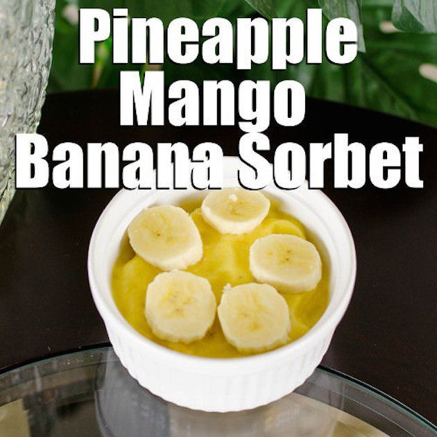 Get this delicious tropical Paleo Sorbet Recipe with pineapples, mangoes, and bananas! It's so easy - it takes just 5 minutes from start to finish. No ice cream maker needed. Photos and printable instructions available.