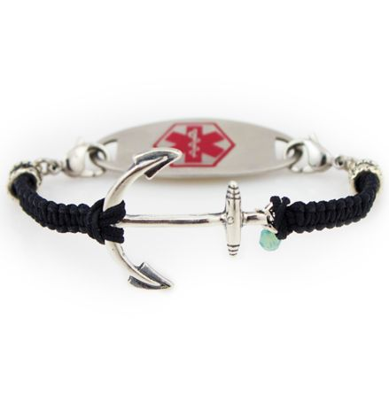 Anchored Medical ID Bracelet: Celebrate the things that keep you anchored or capture the blissful feeling of sailing away with our sterling silver anchor centerpiece. Accented with a sky-toned dangling jewel and hand-woven black macrame strands, the Anchored Medical ID Bracelet from Lauren's Hope is an on-trend, fun, simple style that's sure to float your boat. #laurenshope #laurenshopeID