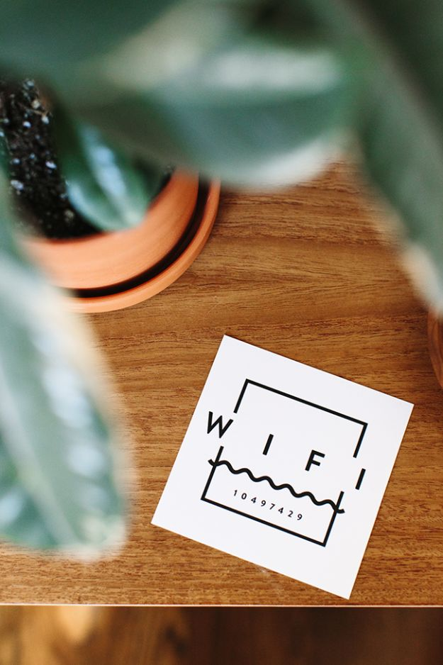 Free Printable Wifi Card from AlmostMakesPerfect | Small touches that make your home welcoming to guests, family, friends.