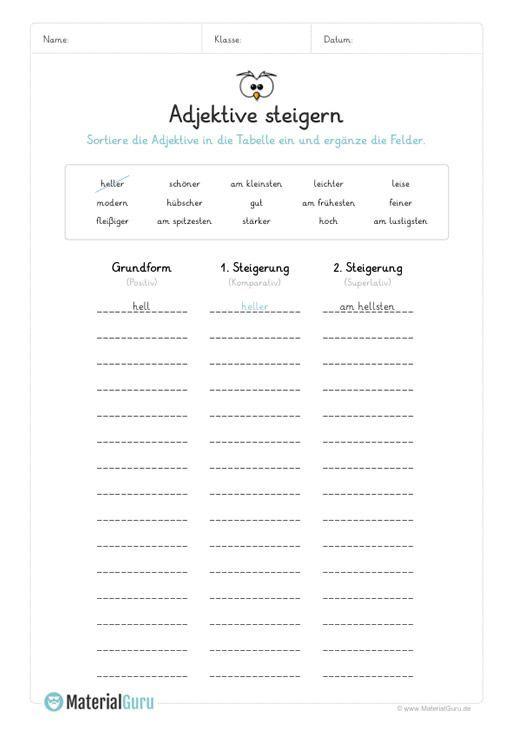 ein kostenloses arbeitsblatt zum thema adjektive auf dem die sch ler bereits gesteigerte. Black Bedroom Furniture Sets. Home Design Ideas