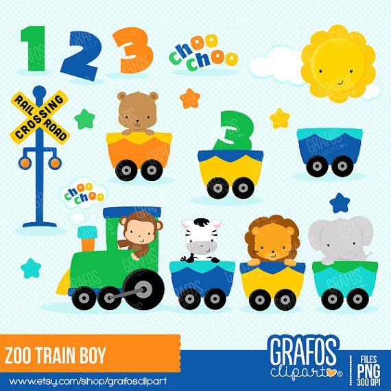 ZOO TRAIN BOY  Digital Clipart Set Imagenes de por GRAFOSclipart