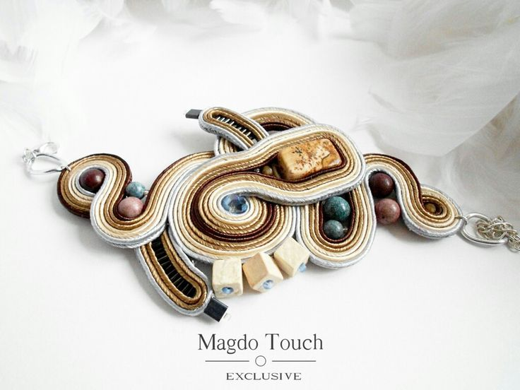 OOAK statement bracelet made by order. Piece from 'Dunes' set. #soutache #bracelet #contemporary  #modern #original #design #magdotouch #artistic #jewelry