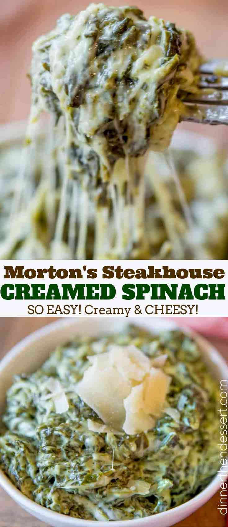 Creamy, Rich Classic Steakhouse Creamed Spinach Recipe That Takes Just A Few Minutes And Is The Perfect Side For A Holiday Roast Or Prime Rib. #creamedspinach #holidays #sidedish #spinach #cheesy