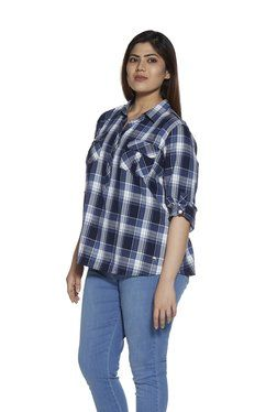 04ce63b1 Gia Curve by Westside Blue Nora Checkered Shirt | Healthy ...