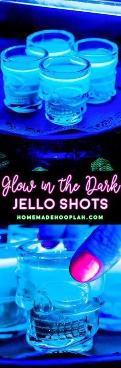 Glow in the Dark Jel Glow in the Dark Jello Shots! Electrify...  Glow in the Dark Jel Glow in the Dark Jello Shots! Electrify your next party with these glow in the dark jello shots! You only need 3 ingredients and they can be spiked with any sweet rum or vodka. | HomemadeHooplah.com Recipe : http://ift.tt/1hGiZgA And @ItsNutella  http://ift.tt/2v8iUYW