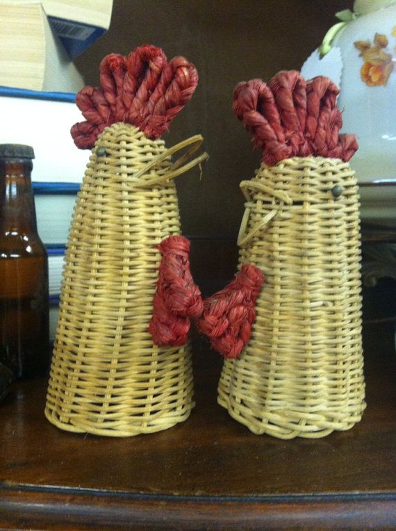 Vintage Wicker Rooster / Chicken Salt and Pepper Covers UNDER 20 FREE SHIPPING