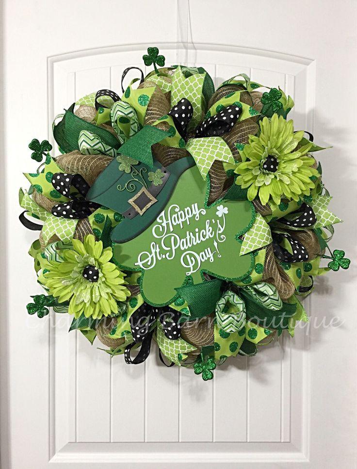 St.Patricks Day Wreath, Happy St.Patricks Day, St.Patricks Day Decor, Shamrock Wreath, Front Door Decor, Front Door Wreath, St.Paddys Day by CharmingBarnBoutique on Etsy