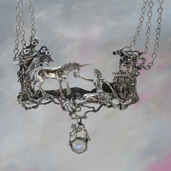 "Unicorn and Maiden Fantasy Jewelry Necklace by MysticSwan. Sterling silver titled ""Magical Refuge"". Made using the lost wax method."