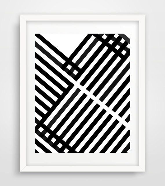 Geometric Art Print Printable Wall Art Black by honeytreeprints