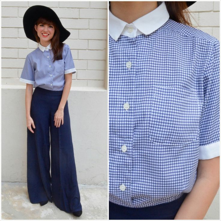1960 Vintage Shirt/Preppy Houndstooth Shirt/ Small Shirt/ Medium Shirt/ Japanese Vintage/ Blue Shirt/ Retro Shirt/ Preppy Shirt/ MOD Shirt by HEIRESSxVintage on Etsy
