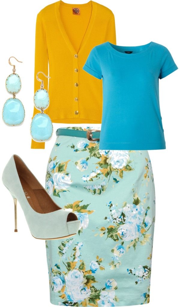 """Spring Church Outfit"" by eskoien on Polyvore. Love the color combo - maybe in a dirndl skirt?"