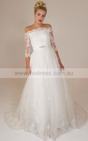 Half-Sleeves Lace-up Lace Off The Shoulder A-line Wedding Dresses ghcf1050--Hodress