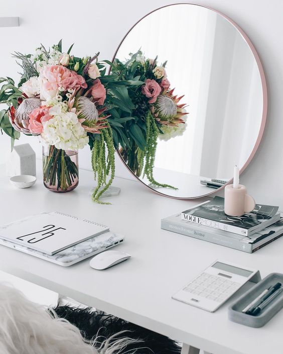 Desk Style with subtle pinks, floral, rose gold and marble. Emma Courtney: Friday Favourites: Design