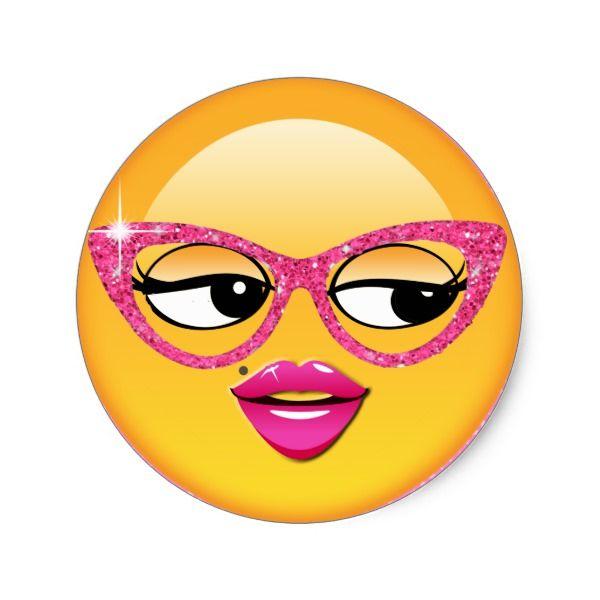 Emoji Flirty Girl Id227 Classic Round Sticker Zazzle Com Emoji Faces Emoji Face
