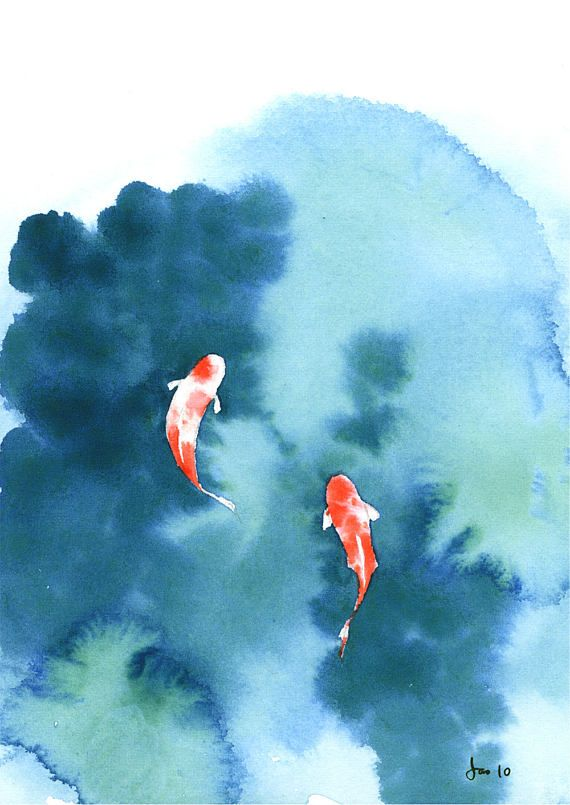 Koi Pond Watercolor 5x7 Print
