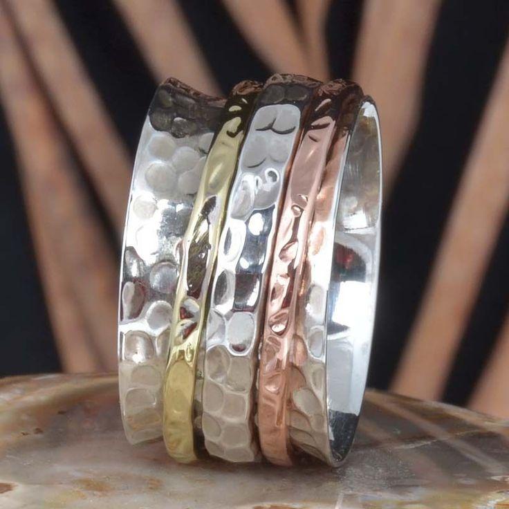 DESIGNER 925 SOLID STERLING SILVER THREE TONE SPINNER RING 7.43g DJR11441 SZ-8 #Handmade #Ring