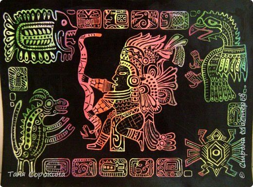 Картина панно рисунок Мастер-класс Граттаж Инки Яичный граттаж Мастер-класс №1 Акварель Тушь фото 1