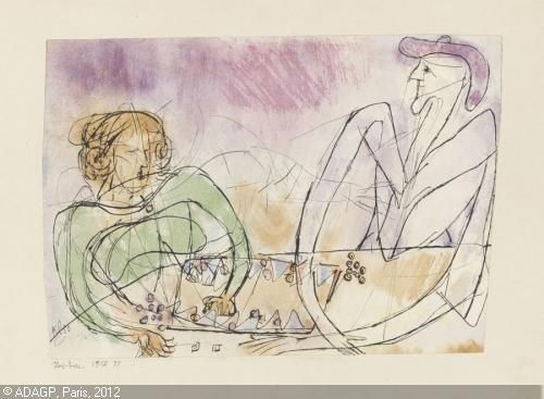 Paul Klee 'Tric-trac' (Tric Trac is a board game played with checkers that is similar to Backgammon) 1912 Watercolor, pen and ink on paper  15.6 X 22.3 cm