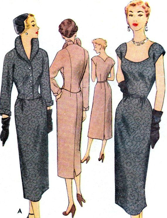 1950s Dress Pattern McCall 8220 Womens Evening Gown Sheath Dress and Jacket Shaped Neck V Back Vintage Sewing Pattern Bust 36