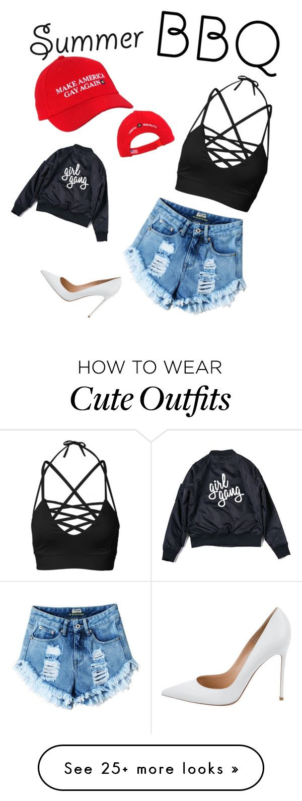 """Cute summer BBQ outfit"" by lizzybizzy2o on Polyvore featuring Gianvito Rossi and summerbbq"